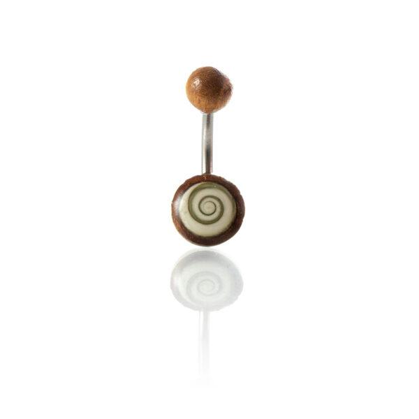 Piercing ombligo acero quirúrgico 316L madera tamarindo ojo de shiva en tienda Online Piercings y Dilataciones