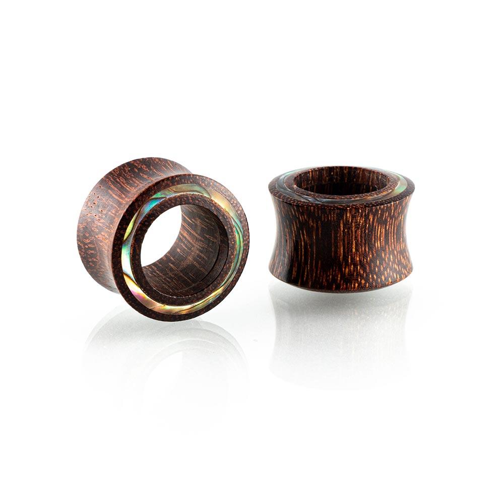 Dilatación madera tamarindo incrustación concha Tunnel para oreja en tienda Online Piercings y Dilataciones