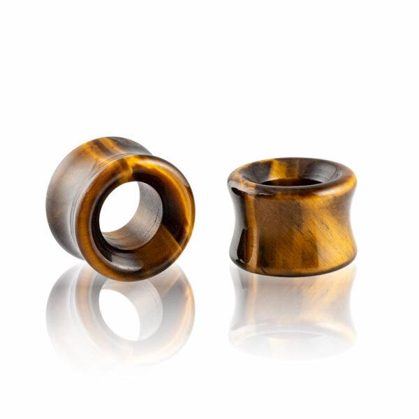 Dilatación piedra ojo de tigre tunnel para oreja en tienda Online Piercings y Dilataciones