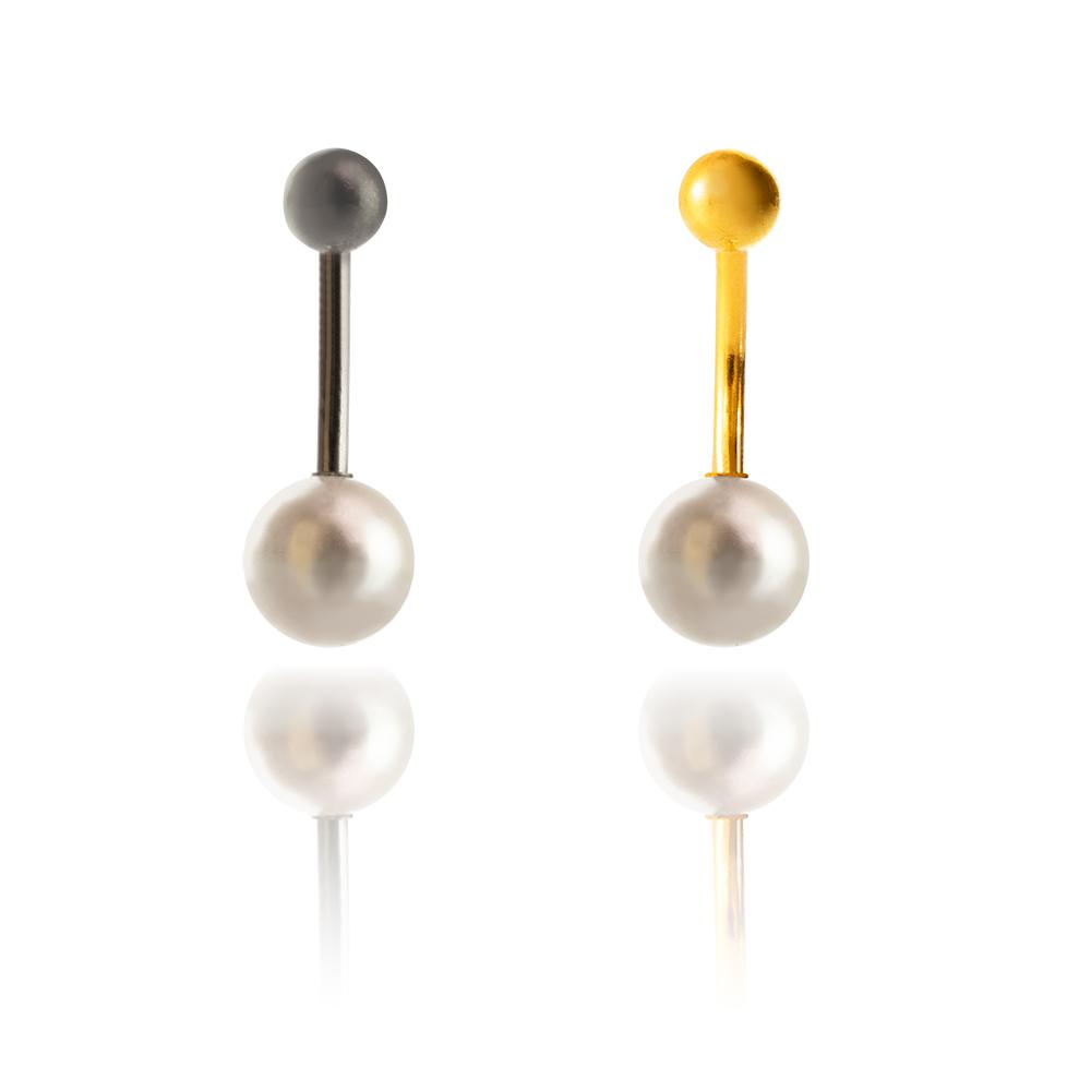 Piercing ombligo titanio perla en tienda Online Piercings y Dilataciones