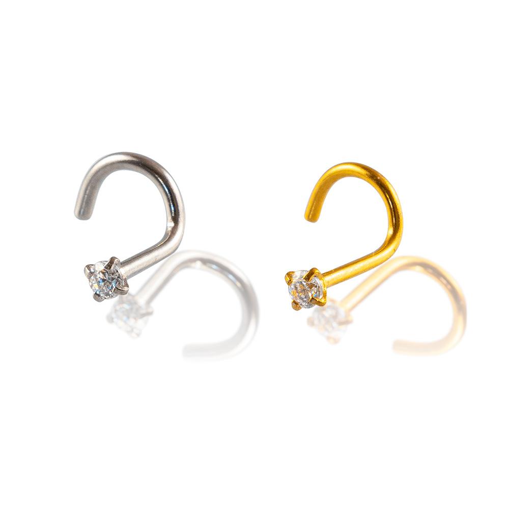 Joya para el nostril o piercing de la nariz de acero quirúrgico grado implante. Diseño elegante y atemporal con un brillante blanco. Opción dorada o plateada.