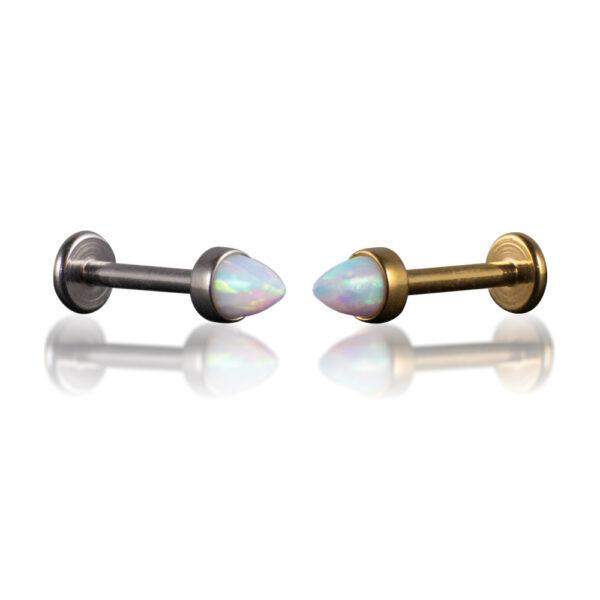 Labret de ópalo para piercings del labio o de la oreja. Hecho en acero quirúrgico grado implante con forma de pincho. Disponible en dorado y plateado.