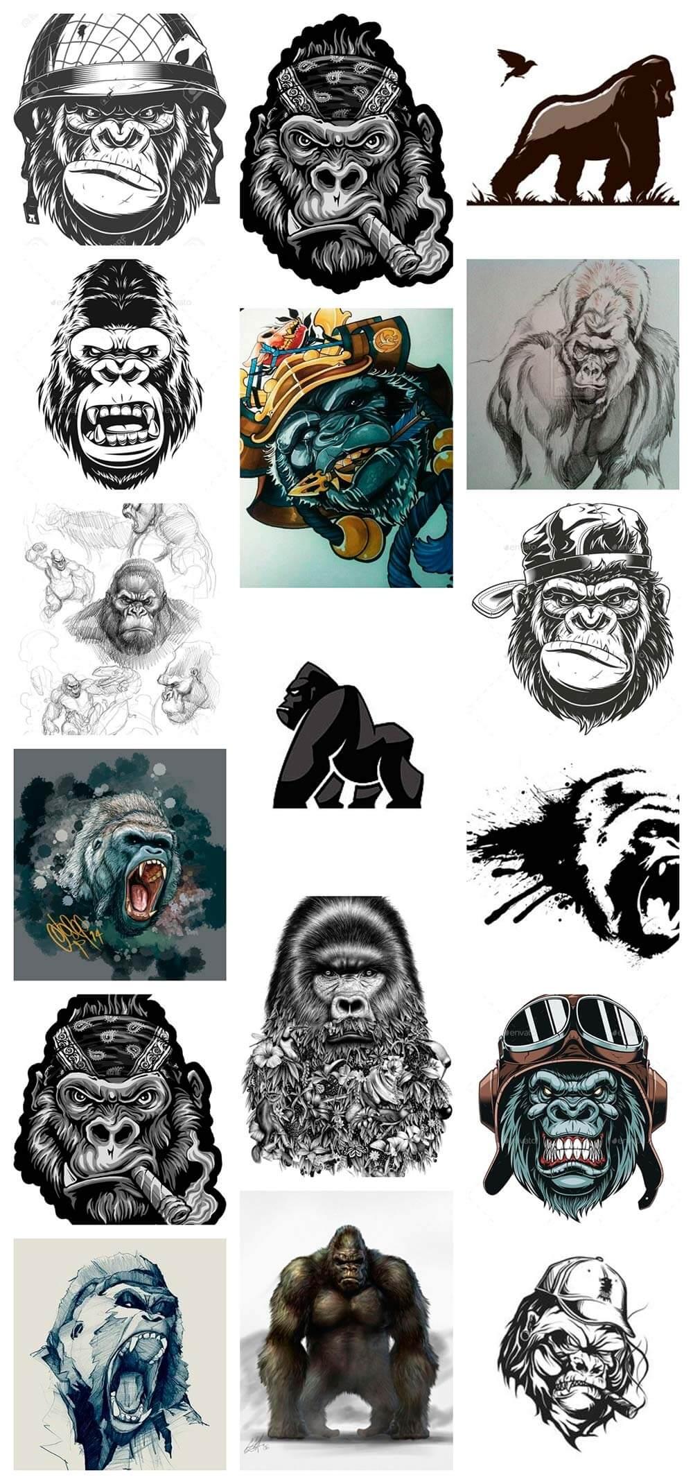 Bocetos De Tatuajes Tradicionales ᐈ tatuajes gorilas : ideas y significado - camaleon tattoo