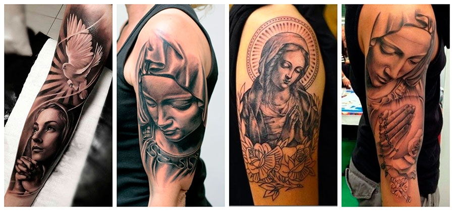 Tattoos en los brazos Virgin Mary